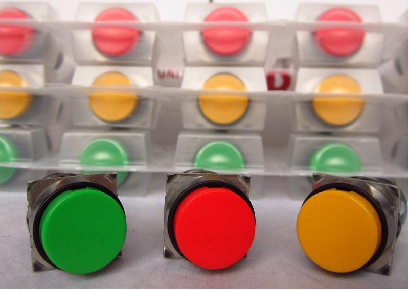 Nút nhấn không đèn, loại tròn màu vàng AB6M-M1YC