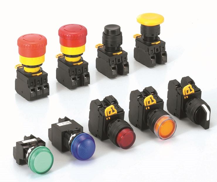 Nút nhấn có đèn, loại phẳng, nhấn nhả, IP65 ngoài mặt tủ - màu vàng YW1L-MF2E10QM3Y